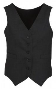 BC Ladies Wool Stretch Peaked Vest with Knitted Back 54011