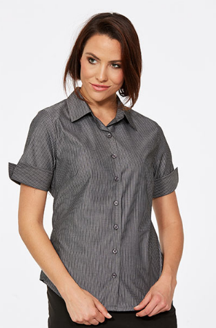 CR Model Stripe Ladies Semi Fitted Short Sleeve Shirt 6070Z12 2