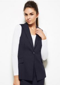 BC Ladies Wool Stretch Longline Sleeveless Jacket 64014