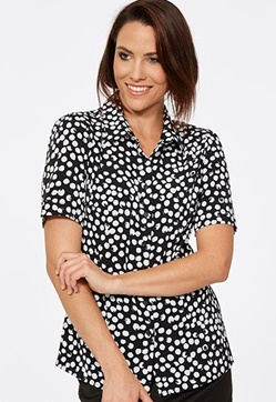 CR Poppy Ladies Semi Fitted Short Sleeve Blouse 6410S91 1
