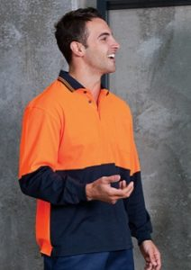JB Hi Vis Cotton Back Adults Long Sleeve Polo 6HPL