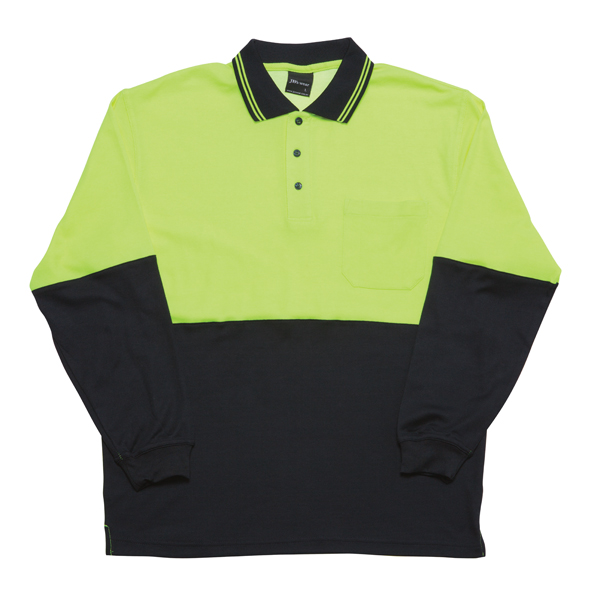 JB Hi Vis Cotton Back Adults Long Sleeve Polo 6HPL 2