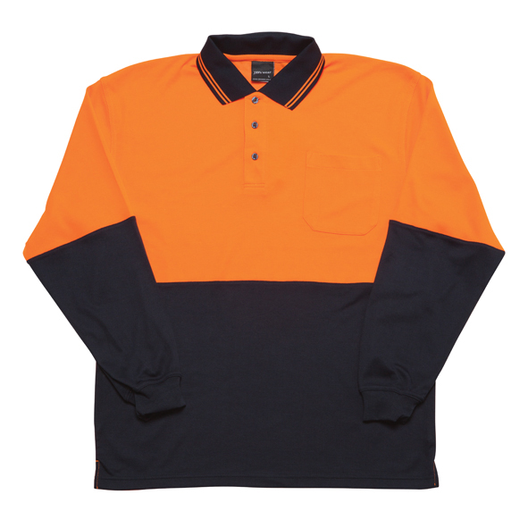 JB Hi Vis Cotton Back Adults Long Sleeve Polo 6HPL 3