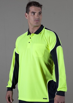 JB Hi Vis Arm Panel Adults Long Sleeve Polo 6AP4L