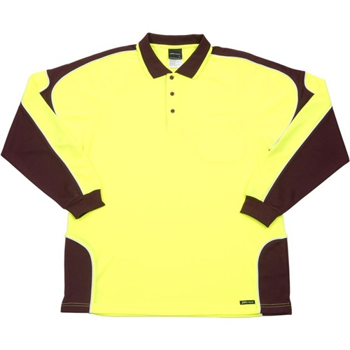 JB Hi Vis Arm Panel Adults Long Sleeve Polo 6AP4L 3