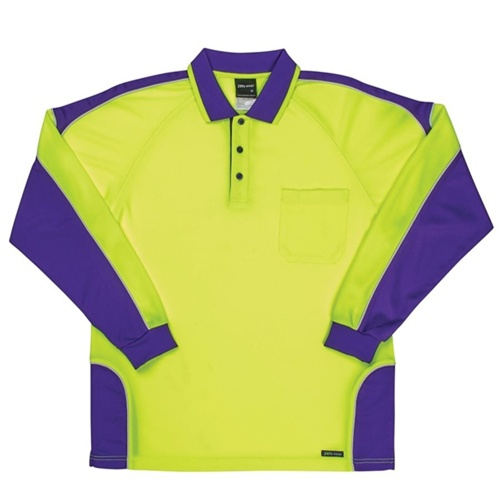 JB Hi Vis Arm Panel Adults Long Sleeve Polo 6AP4L 9
