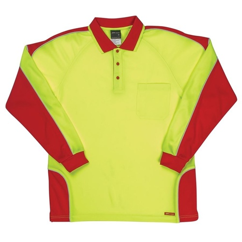 JB Hi Vis Arm Panel Adults Long Sleeve Polo 6AP4L 10