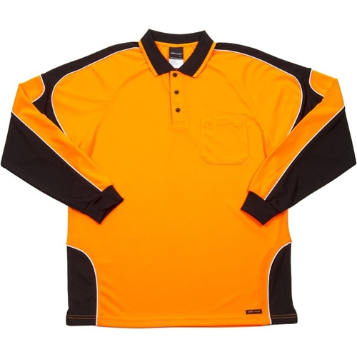 JB Hi Vis Arm Panel Adults Long Sleeve Polo 6AP4L 6