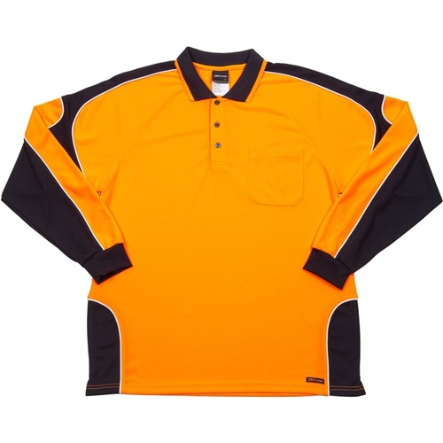 JB Hi Vis Arm Panel Adults Long Sleeve Polo 6AP4L 7