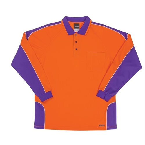 JB Hi Vis Arm Panel Adults Long Sleeve Polo 6AP4L 8