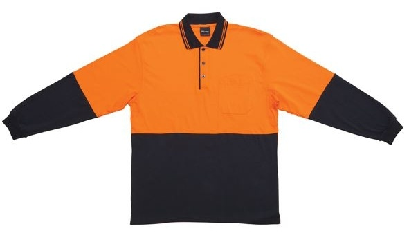 JB Hi Vis Cotton Adults Long Sleeve Polo 6CPHL 2