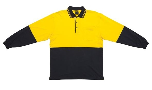 JB Hi Vis Cotton Adults Long Sleeve Polo 6CPHL 3