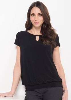 LSJ Ladies Keyhole Neck Banded Top 709