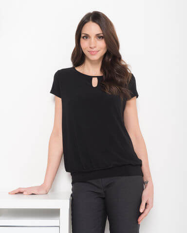 LSJ Ladies Keyhole Neck Banded Top 709 2