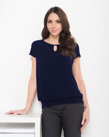 LSJ Ladies Keyhole Neck Banded Top 709 3