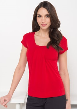 LSJ Ladies Round Neck Pleat Front Top 711 1