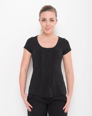 LSJ Ladies Round Neck Pleat Front Top 711