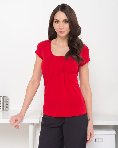 LSJ Ladies Round Neck Pleat Front Top 711 4