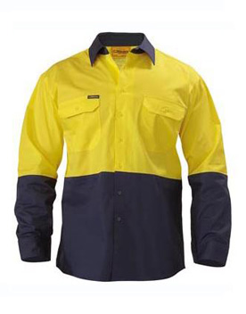 Bisley 2 Tone Hi Vis Long Sleeve Shirt BS6895