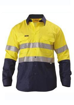 Bisley 2 Tone Hi Vis Reflective Tape Long Sleeve Shirt BS6896