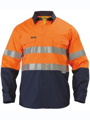 Bisley 2 Tone Hi Vis Reflective Tape Long Sleeve Shirt BS6896 3