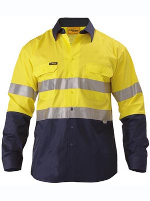 Bisley 2 Tone Hi Vis Reflective Tape Long Sleeve Shirt BS6896 2