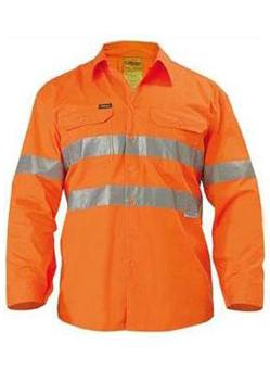 Bisley Lightweight Hi Vis Reflective Tape Long Sleeve Shirt BS6897 1