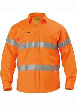 Bisley Drill Hi Vis Reflective Tape Long Sleeve Shirt BT6482 1