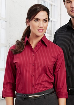 Biz Manhattan Ladies 3/4 Sleeve Pinstripe Shirt LB8425