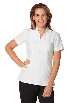 WS Women's Full Zip Front Short Sleeve Tunic M8636S 1