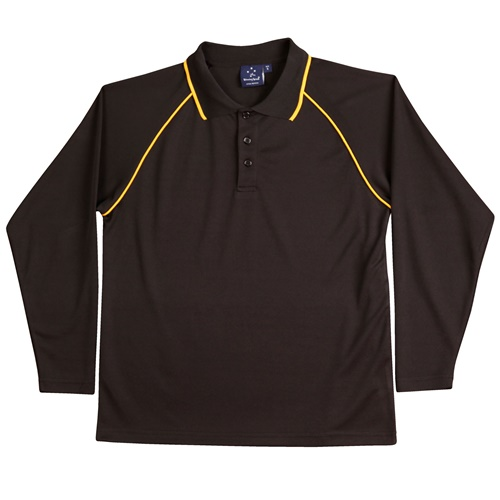 WS Champion Plus Kids CoolDry Long Sleeve Polo PS43K 2