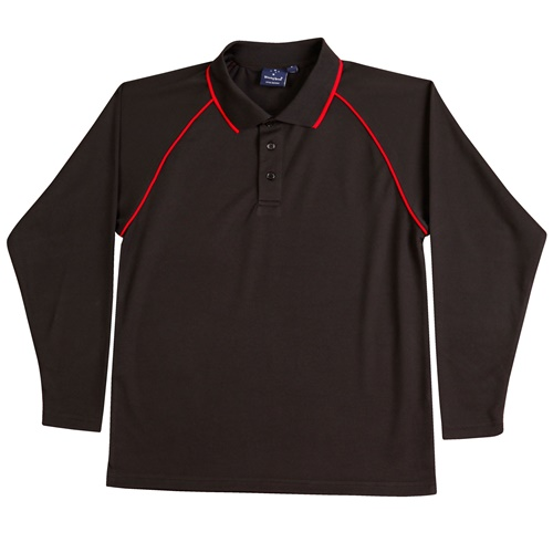 WS Champion Plus Kids CoolDry Long Sleeve Polo PS43K 3
