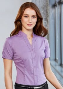 Biz Chevron Stand Collar Ladies Short Sleeve Shirt S262LS