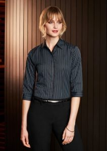 Biz Reno Stripe Ladies 3/4 Sleeve Shirt S415LT