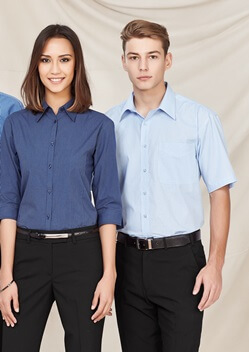 Biz Micro Check Mens Short Sleeve Shirt SH817