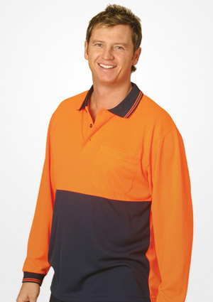 WS Hi Vis Cool Dry Mens Long Sleeve Polo (S to 3XL) SW05CD