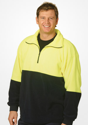 WS Hi Vis 2 Tone Polar Fleece Half Zip Pullover (4XL to 7XL) SW07-X 1