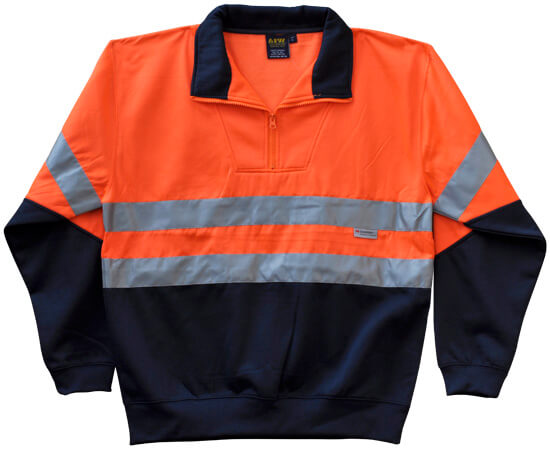 WS Hi Vis Long Sleeve Fleecy Sweat with Tape (S to 3XL) SW14 2