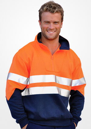 WS Hi Vis Long Sleeve Fleecy Sweat with Tape (S to 3XL) SW14