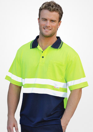 WS Hi Vis 3M Tapes Mens Safety Polo (S to 3XL) SW17 1