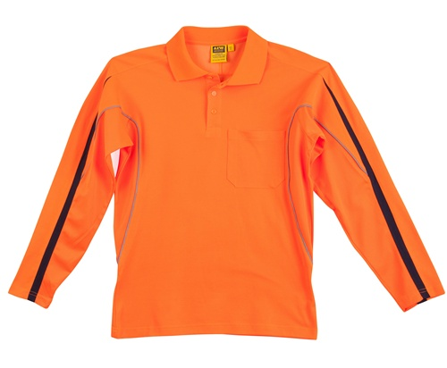 WS Hi-Vis Legend Mens Long Sleeve Polo SW33A 2