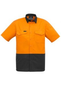 SYZ Mens Rugged Hi Vis Cooling Spliced Short Sleeve Shirt ZW815