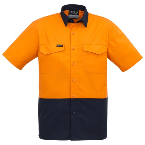 SYZ Mens Rugged Hi Vis Cooling Spliced Short Sleeve Shirt ZW815 2