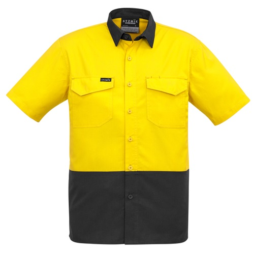 SYZ Mens Rugged Hi Vis Cooling Spliced Short Sleeve Shirt ZW815 5