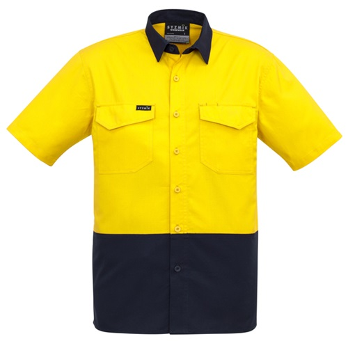 SYZ Mens Rugged Hi Vis Cooling Spliced Short Sleeve Shirt ZW815 4