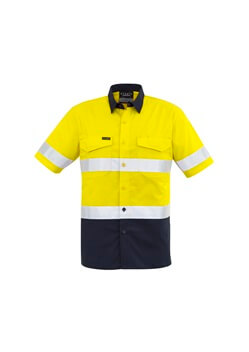 SYZ Mens Rugged Cooling Taped Hi Vis Spliced S/S Shirt ZW835 1