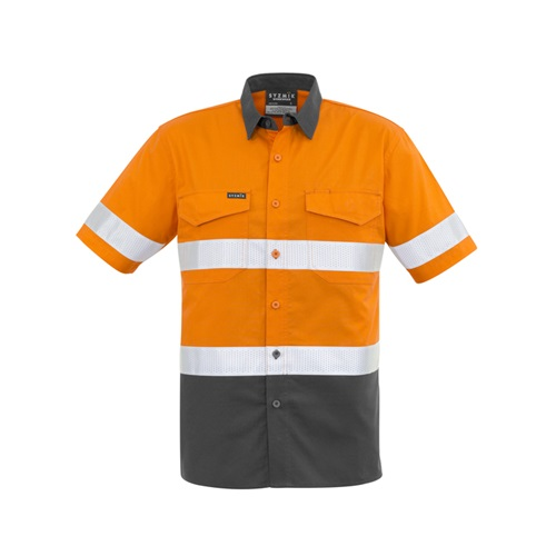 SYZ Mens Rugged Cooling Taped Hi Vis Spliced S/S Shirt ZW835 4
