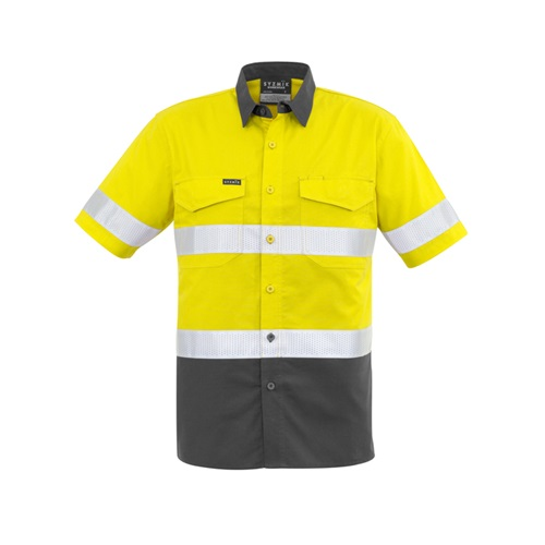 SYZ Mens Rugged Cooling Taped Hi Vis Spliced S/S Shirt ZW835 5