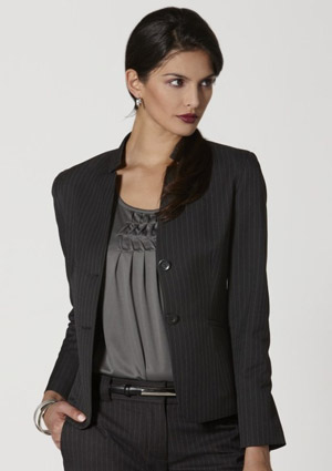 BC Ladies Stretch Pinstripe Short Jacket with Reverse Lapel 60213