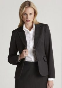 BC Ladies Stretch Pinstripe Short Mid Length Jacket 60211